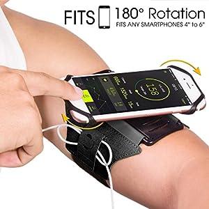 VUP Universal Sportarmband für iPhone 7, 7 Plus, 6S, Samsung S8, S8 Plus, S7 Edge, Galaxy S5, 180° Drehbar Handgelenk Handytasche für Joggen Laufen Radfahren Wandern