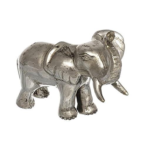 Dekofigur Elefant Glücksbringer Geschenk Metall Silber Groß Klein Skulptur Schön Statue Glück Baby Afrika Asien Glückselefant Mini Brillibrum Geschenke Geschenkidee (Elefant - Groß)
