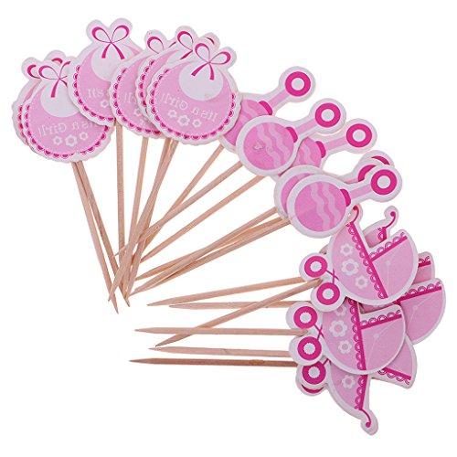 MagiDeal 18 Stück / set Cake Topper, Baby Lätzchen Rattle Form, Tortenstecker, Tortenfigur Geburtstags Baby Taufe Party Dekor - Es ist ein Mädchen