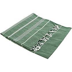 """Turkish Emporium Pestemal """"Sultan"""" toalla de baño toalla de baño toalla de baño con diseño de rayas y con flecos VERDE OSCURO, 100 x 170 cm"""