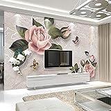 LONGYUCHEN Benutzerdefinierte 3D Silk Wandbild Tapete Pflanze Muster Vintage Floral Schmetterling Geeignet Für Schlafzimmer Wohnzimmer Tv Hintergrund Wand Dekoration Wandbild,260Cm(H)×460Cm(W)
