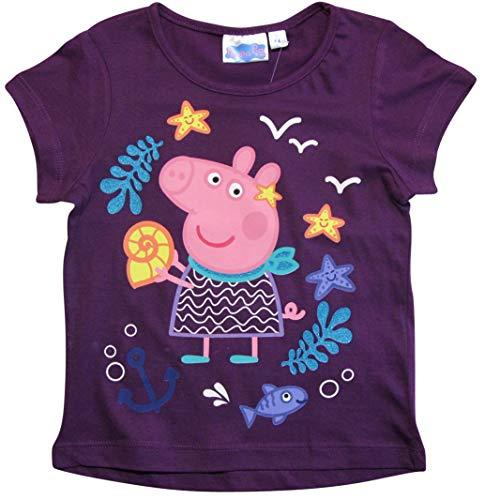 Peppa Pig - Peppa Wutz Peppa Wutz T-Shirt Mädchen Kurz Shirt Peppa Pig (Lila, 92-98)