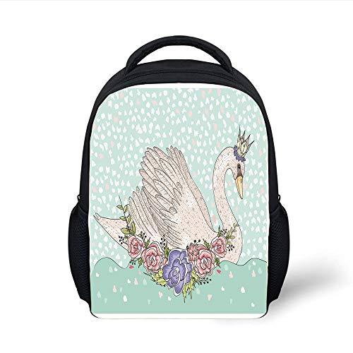 Beige Queen 14 (Kids School Backpack Queen,Cute Cartoon Swan on Water Crown Flowers Dreamy Fairytale Kids Playroom,Mint Green Beige Coral Plain Bookbag Travel Daypack)