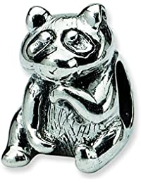 Sterling Silver Polished Antique finish Reflections Racoon Bead Charm