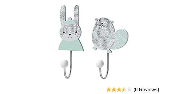 Garderobe THREE ANIMALS mint 3er-Hakenleiste Kinderzimmer Baby Wandhaken