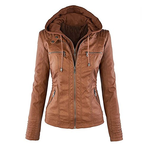 Blivener Womens Classic Faux Leather Hooded Jackets Zip Up Outwear Coat