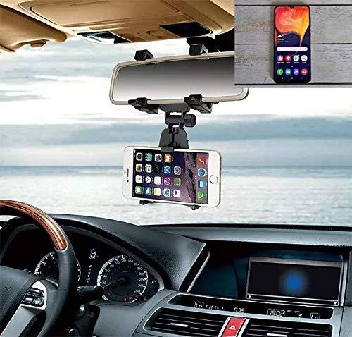 K-S-Trade Für Samsung Galaxy A50 Smartphone Halterung Rückspiegel Halterung schwarz Auto Halterung für Samsung Galaxy A50 Spiegel KFZ Halter