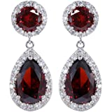 Yazilind Dazzling Silver Plated Pear Round Cut Cubic Zirconia CZ Flawless Dangle Earrings