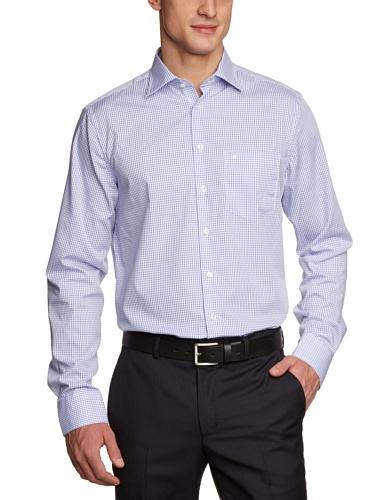 Seidensticker Herren Businesshemd Modern extra langer Arm mit Kent-Kragen bügelfrei, Mehrfarbig (16 Karo weiß  blau)