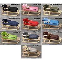 Holzschlitten mit Rückenlehne mit Winterfußsack Schlitten Holz   10 Farben