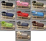 Holzschlitten mit Rückenlehne mit Winterfußsack Schlitten Holz | 10 Farben (Dunkelgrün)