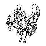 Adesivo da parete con ali e cavalli Adesivo da parete con silhouette di cavalli Volare Animali Home Decor Nursery Rimovibile Living Room 58x68cm