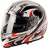 G-Mac Renegade Casco de moto de cara completa (negro/blanco/rojo)