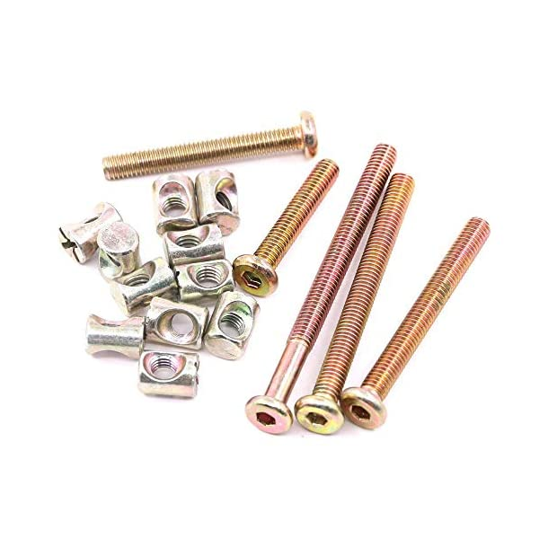 Noblik 100Pcs Furniture Crib Bolts with Barrel Nuts Assortment Kit for Furniture, Cots, Baby Beds, Crib 40Mm / 50Mm / 60Mm / 70Mm / 80Mm Noblik hard and sturdy, allow you to use for long time Product Type: High precision M6 hex socket head cap screws bolts and barrel nuts assortment kit Product Feature: A good match between socket cap screws with barrel nuts to make strong joints for your furniture 5