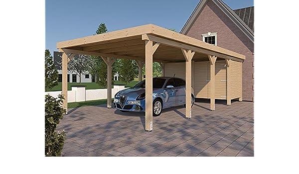 Carport Flat Roof Montreal Xxv 400 X 800 Cm With Device Room Amazon Co Uk Garden Outdoors