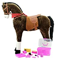 XXL Horse Chocolate Jumbo Giant Standing Horse and Horse Grooming Box PINK Kerbl Available 8 Pieces for Children - Giant Mr Chocolate Sweety Toys, Equestrian Horse Riding Large Horse - Very Elegant - Chocolate Colour with Black Mane and Tail Dark Hobby Horse
