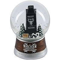 W:O:A – Wacken Open Air Schneekugel, Wacken Winter Nights, mit dem schwarzen Wacken-Turm, einer grasenden Kuh und dem berühmten Ortsschild, ca. 9 x11 cm