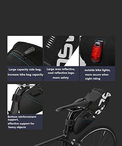 feafe78c94fdc7 ... ROSWHEEL reißfestes Polyester Fahrrad Satteltasche unter Rückseite Sitz  Tasche mit einrollbarer öffnen und reflektierendes Logo für ...