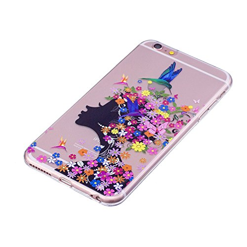 Custodia per iPhone 6S 4.7,Silicone Cover per iPhone 6 4.7,Leeook Creativa Bello Carina Gatto Painted Design Ultra Sottile Morbida Transparent TPU Gel Cover Case Shock-Absorption Anti Scivolo Custod Rosa Farfalla Fiore Ragazza