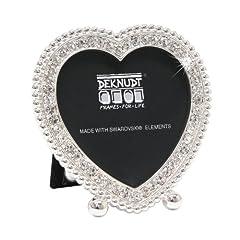 Idea Regalo - Deknudt Frames S66LA5 - Cornice portafoto a forma di cuore, con elementi di Swarovski decorativi, per foto 5 x 5 cm, 9 x 8 x 2,5 cm, colore argento