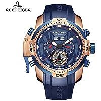 Reef Tiger luminoso sport complicato blu quadrante orologio automatico RGA3532