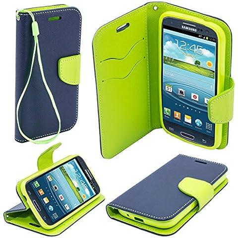 Moozy dos colores Fancy Libro funda Flip con Stand / correa para la muñeca / soporte de silicona para Samsung i9300 Galaxy S3 , Azul / Verde