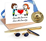 TiedRibbons® Gifts for Husband Combo(Golden Medal ,Golden cufflinks,Tie-pin,Studded pen and Greeting card)