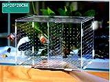 Fisch Zuchtbox mit Kunststoff Acrylic (Saugnäpfen für Aquarium Schraffur Hochwertige Acryl Box Aquarium Zubehör Multifunktionale Mini Aquarium Tanks 30 x 20 x 20 cm