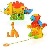 PovKeever Montar y Desmontar Dinosaurios Toy Take-Apart Pull Along DIY Juguetes educativos para niños Puzzle Juegos de armar para niños Mayores de 3 años, Pack de 2 (Color Aleatorio)