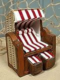 Unbekannt Mini Strandkorb rot/weiß Poly ca. 11x8,3x8,5cm Maritime Dekoration II. Wahl