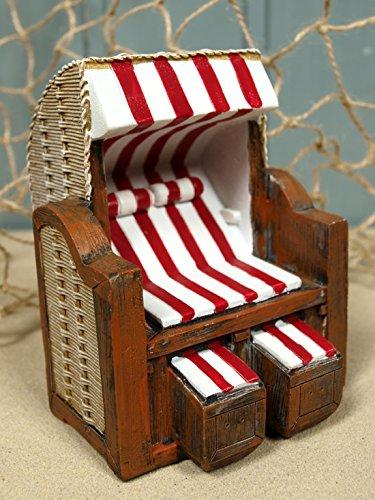 Mini Strandkorb rot/weiß aus Poly ca. 11x8,3x8,5cm für die maritime Dekoration