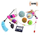Cat Toys, Legendog 10 Pcs Cat Kitten Interactive Mouse Toys Set for Indoor Kitty and Cats
