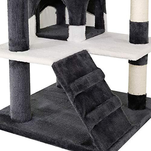 Katzenkratzbaum, Kratzbaum für Katzen 130 cm Höhe (grau / weiß) - 3