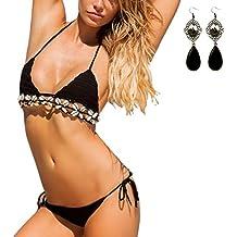 Sitengle Para Mujer Bikinis Conjuntos Bañador Crochet Teeny Triángulo Deporte Push Up Traje de Baño Beachwear Swimsuit Swimwear dos Piezas con Shell Decorativo