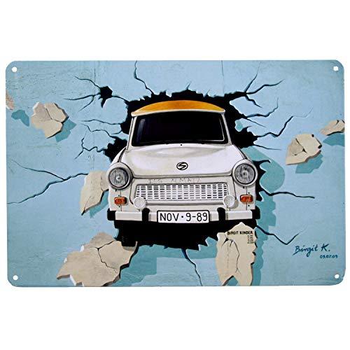 PS&P Trabi Trabant Blechschild | Retro Blechschild | Vintage-Schild | Wand-Dekoration | Metall | 20x30 cm