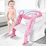 Leting Riduttore WC per Bambini con Scaletta Pieghevole, Kit Toilette Trainer Tenero Modello Universale sede vasino con passo, per i bambini 1-7 anni (rosa)
