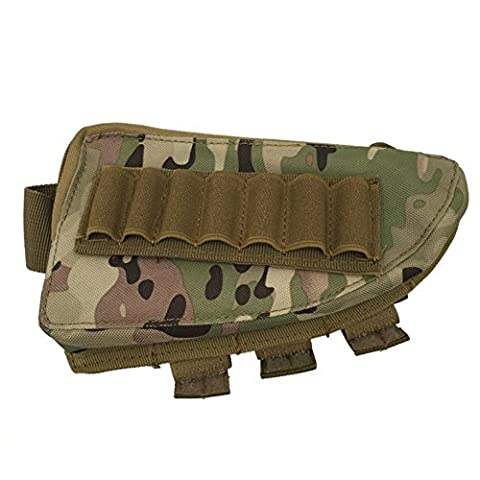 GES Fusil tactique Fusil de chasse Buttstock Support de coquille Support de pochette de poche Ammo Cartridge Stockage de porteur (CP Camouflage)