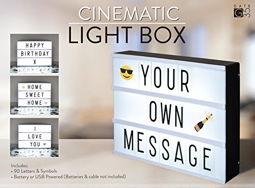 A4 Cinematic LED Light Box Sign | 105 Letters and Colour Emojis | USB or Battery Operated | USB Cable Included | Vintage Cinema Sign