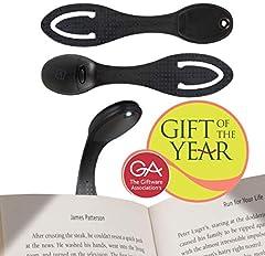 Idea Regalo - Lampada per Leggere a Letto - Luce LED e Segnalibro Flessibile Clip on - Batterie Incluse - Regalo di Compleanno Perfetto per gli Amanti dei Libri - Nero