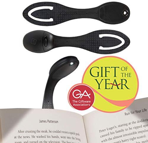 LAMPARA DE LECTURA PARA LIBRO - Flexo con Luz LED para leer libros en la cama | 2 EN 1: Linterna ajustable con pinza clip y Marcapáginas | Baterias incluidas | Regalo ideal para lectores | Negro
