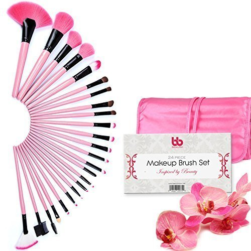 Beauty Bon Professional Makeup Brushes, 24 Piece Set, , Vegan, With Plastic Handles, Great For Highlighting & Contouring, Includes Case Pink