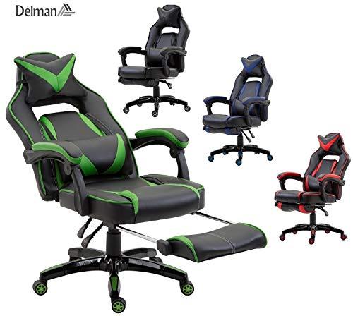 Delman XXL Racing Bürostuhl Schreibtischstuhl Gaming Chair Drehstuhl Höhenverstellbar mit Fußstütze Fußablage mit Armlehnen Chefsessel Große Sitzfläche Dicke Polsterung 11 cm RS0019GN -