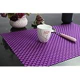 PVC Table Mats/Place Mats/Drawer Mats/Fridge Mats/Multipurpose Mats/Refrigerator Mats/Dinner Mats/Dinning Mats/Kitchen Place Mats, 30x45cm, 6 Piece Set-(Mettalic Purple)