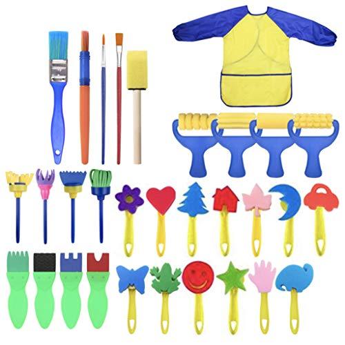 jfhrfged Kinder Art & Craft 31pcs Schwammanstrichbürste Kinderanstrich für Kleinkinder