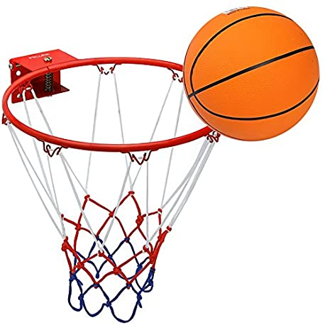 Pellor Aro de Baloncesto Canasta Baloncesto Infantil Interior y Exterior con Baloncesto de Goma y Bomba Canasta Pared para Ni