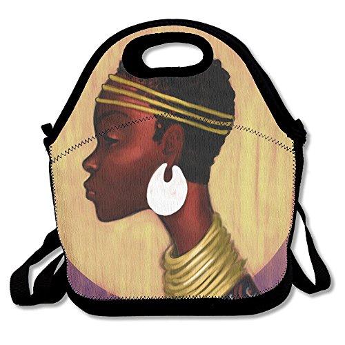 USYCHATS Isolierte Lunch Tasche Große Kapazität Verstellbarer Schultergurt für Schule Arbeit Büro, African American Art