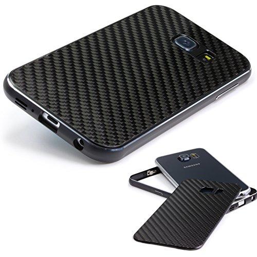 Echt Carbon Aluminium Schutz Hülle für das Samsung Galaxy S6 Original UrCover® [DEUTSCHER FACHHANDEL] Galaxy S 6 Case Cover Bumper Alu Rahmen Tasche Galaxy S 6 Schutzhülle Handyhülle Schwarz