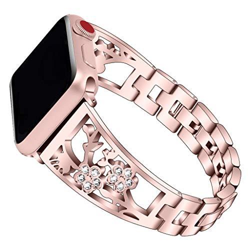 WAOTIER für Apple Watch 40mm Armband Leder Ersatzarmband Spleißen Zweifarbiger Armband für Apple Watch Series 4 mit Edelstahl Verschluss Kompatibel iWatch 40mm für Frauen Männer (Rosa)