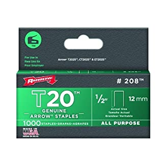 Arrow 208 Genuine T20 1/2-Inch Staples, 1,000-Pack by Arrow Fastener (English Manual)