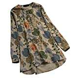 VEMOW Sommer Herbst Elegante Damen Plus Größe Dot Print Lose Baumwolle Casual Täglichen Party Strandurlaub Kurzarm Shirt Vintage Bluse Pulli(Y7-Gelb, EU-46/C-3XL)
